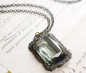 Noir crystal necklace grey goth Victorian gothic emerald ruby amethyst vintage style brass Witch
