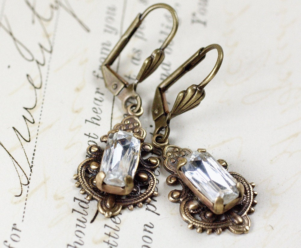 Vintage crystal earrings bridal rhinestone bronze gem victorian filigree antique bronze baguette