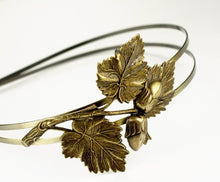 Load image into Gallery viewer, Autumn headband leaf acorn double band brass fall hair accessory