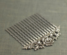 Load image into Gallery viewer, Bridal hair comb antique silver floral elegant vintage style wedding hair accessory art nouveau