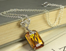 Load image into Gallery viewer, Amber jewel bee necklace vintage style victorian honey topaz crystal gem bohemian glass