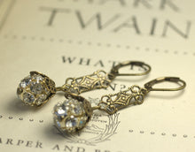 Load image into Gallery viewer, Art nouveau earrings crystal filigree brass silver rhinestone flapper antique style bridal 1920's