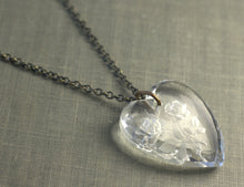 Load image into Gallery viewer, Crystal heart necklace vintage rose brass