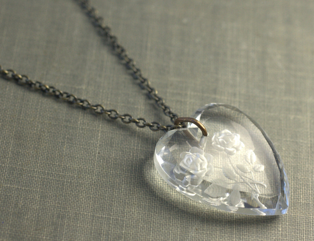Crystal heart necklace vintage rose brass