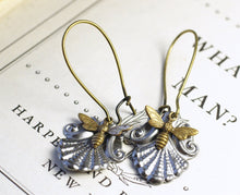 Load image into Gallery viewer, Victorian bee earrings antique vintage style brass