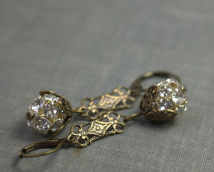 Art nouveau earrings crystal filigree brass silver rhinestone flapper antique style bridal 1920's