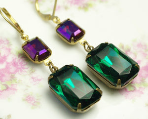 Gem earrings crystal art deco emerald green fuschia pink hollywood glamour drop