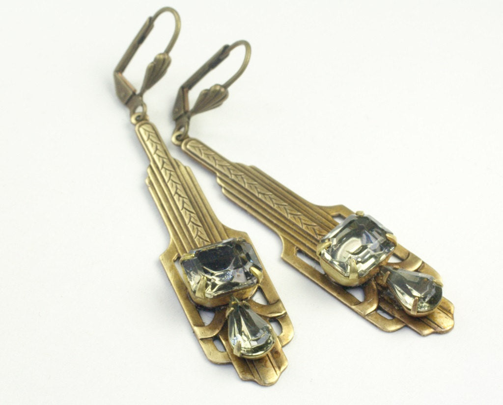 Art Deco earrings brass rhinestone grey emerald vintage style gray gatsby crystal gem 1930's long