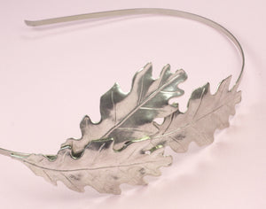 Oak leaf headband bridal silver finish nature autumn wedding hair accessory fall leaves head piece woodland hair band