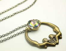 Load image into Gallery viewer, Mermaid necklace crystal rainbow retro bronze beach vintage style brass vitrail iridescent rhinestone jewel summer jewelry cruise