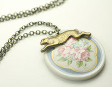 Load image into Gallery viewer, Rabbit necklace floral garden porcelain cameo vintage brass romantic bunny easter spring