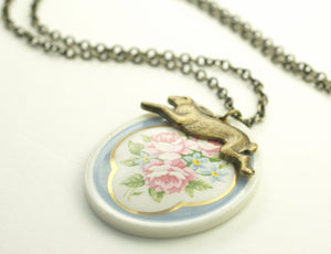 Rabbit necklace floral garden porcelain cameo vintage brass romantic bunny easter spring