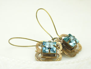 Blue crystal earrings bridal vintage aquamarine topaz glass jewels   square brass filigree brass antique style earrings wedding