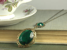 Load image into Gallery viewer, Emerald necklace victorian jewel brass antique edwardian art nouveau glamour crystal green gem vintage style bronze handmade statement