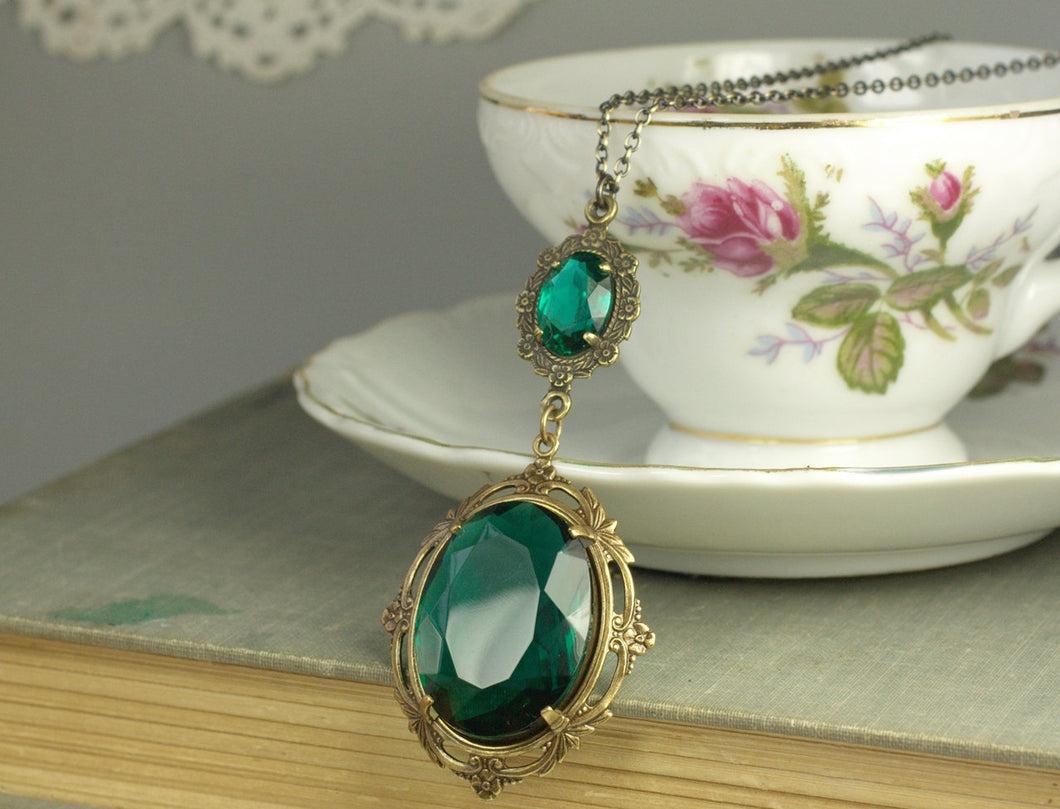 Emerald necklace victorian jewel brass antique edwardian art nouveau glamour crystal green gem vintage style bronze handmade statement