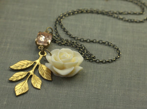Rose bridal necklace antique brass leaves blush pink rhinestone vintage inspired wedding jewelry bridesmaid rosaline crystal bronze cream