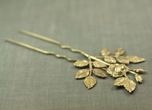 Floral bridal hair comb fork brass rose pick leaves vintage style wedding hair accessory
