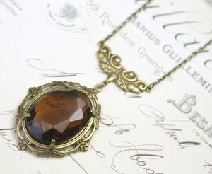 Victorian crystal jewel necklace acorn brass autumn antique style smoky topaz brown gem fall jewelry vintage bronze
