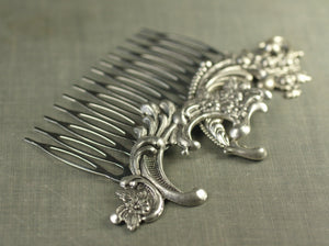 Bridal rococo hair comb silver wedding hair accessory antique French style
