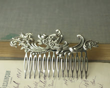 Load image into Gallery viewer, Bridal rococo hair comb silver wedding hair accessory antique French style