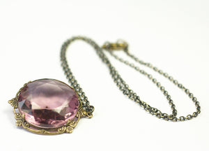 Amethyst pendant necklace bohemian glass jewel victorian brass purple February birthstone