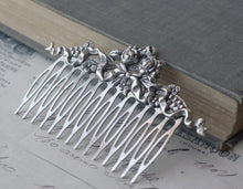 Load image into Gallery viewer, Victorian bridal hair comb silver wedding hair accessory antique style elegant