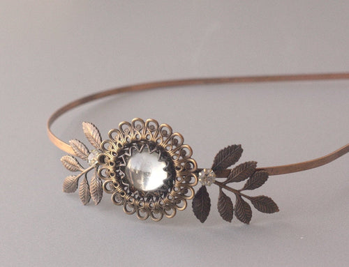 Vintage bridal headband copper brass antique style crystal autumn wedding hair accessory 1920's art nouveau style leaves leaf filigree fall