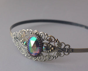 Iridescent jewel filigree headband brass rainbow rhinestone jewel vintage glamour