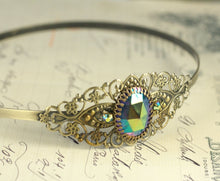 Load image into Gallery viewer, Iridescent jewel filigree headband brass rainbow rhinestone jewel vintage glamour