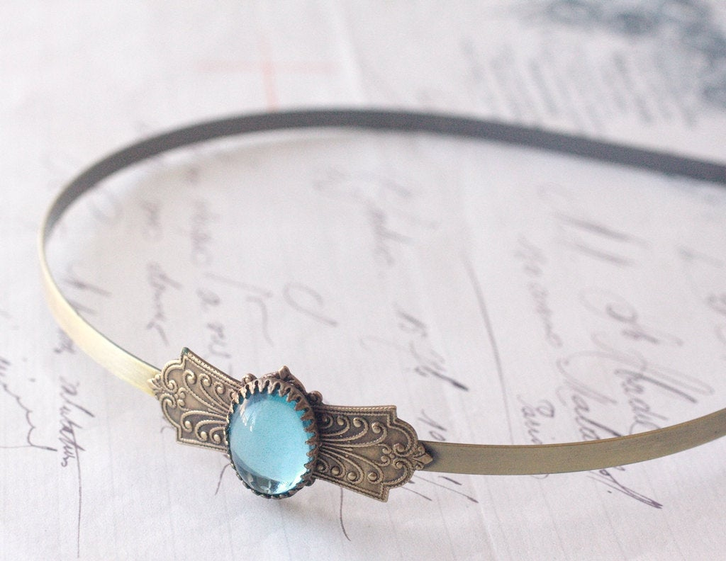 Antique bridal headband aquamarine brass vintage style aqua glass jewel bridal bronze wedding hair accessory