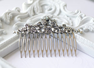 Victorian bridal hair comb silver wedding hair accessory antique style elegant
