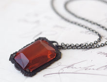 Load image into Gallery viewer, Ruby red jewel necklace Victorian glamour gothic old Hollywood Valentine's Day