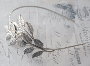 Leaf headband bridal silver leaves head piece goddess wedding hair handmade accessory