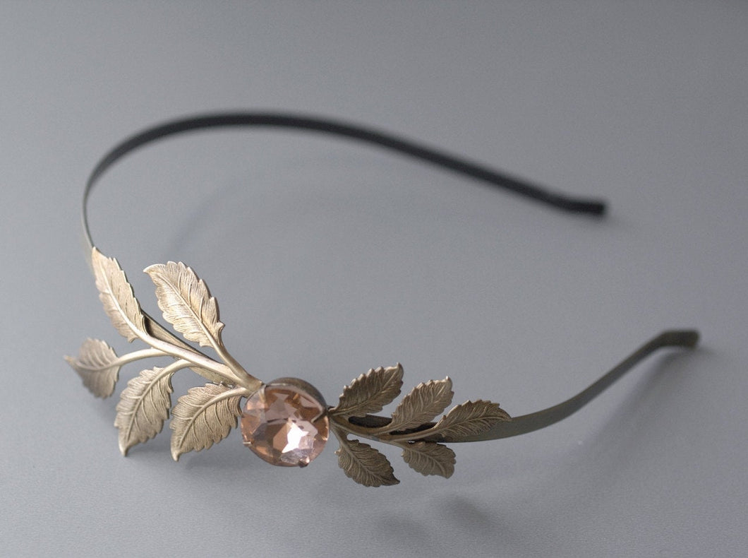 Leaf bridal headband blush pink crystal bronze silver brass leaves wedding hair accessory rhinestone jewel vintage style bride