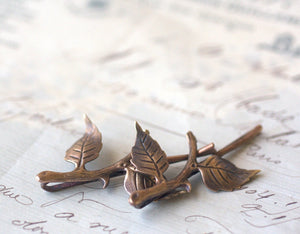 Branch hair pins leaves bridal brass bobby pin twig hair accessory leaf set woodland rustic wedding