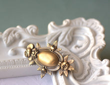 Load image into Gallery viewer, Rose Victorian floral bridal hair clip wedding brass antique style wedding barrette bronze vintage style