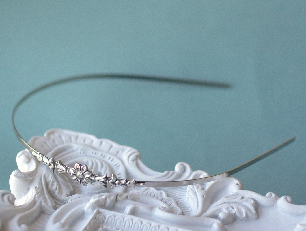 Flower headband vintage style silver elegant bridal skinny delicate floral bridesmaid wedding hair accessory