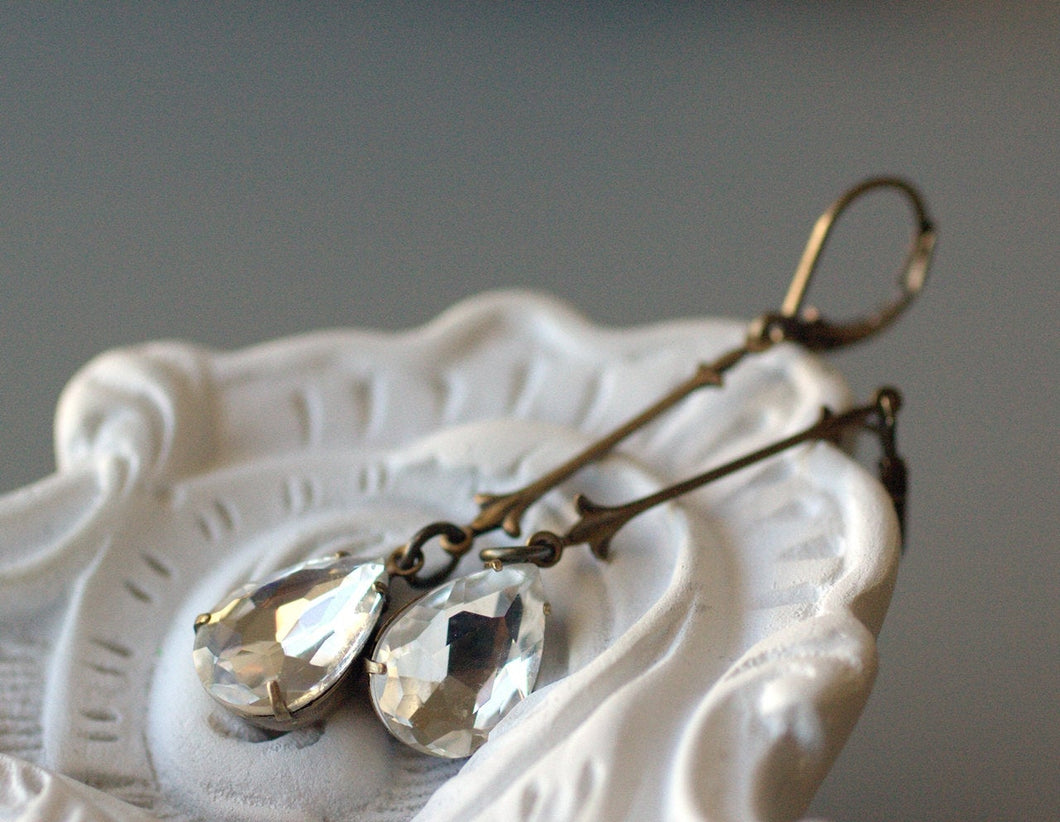 Art nouveau crystal jewel pear drop earrings brass rhinestone flapper bridal wedding elegant vintage style