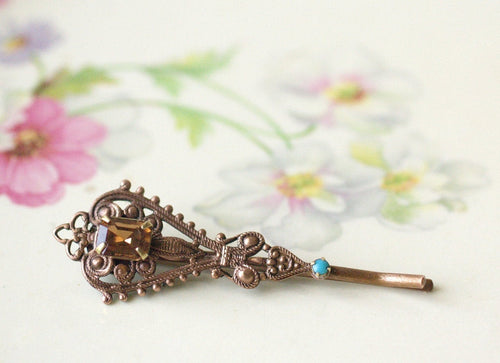 Filigree crystal bobby pin antique style copper finish turquoise medieval Victorian boho hair pin jewelry hair slide
