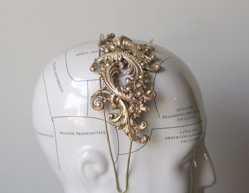 Vintage bridal head piece brass headband Parisian wedding hair accessory antique French rococo style ornate