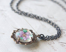 Load image into Gallery viewer, Flower necklace vintage crystal bridal pastel victorian filigree brass lavender seafoam mint floral feminine antique style jewel pendant