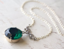 Load image into Gallery viewer, Emerald green jewel necklace antique brass or silver floral May birthstone vintage crystal gem