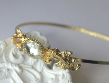 Load image into Gallery viewer, Gold bridal headband crystal jewel French rococo wedding hair accessory golden