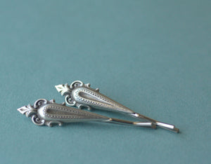 Bridal bobby pin set victorian silver vintage style hair jewelry wedding hair pins