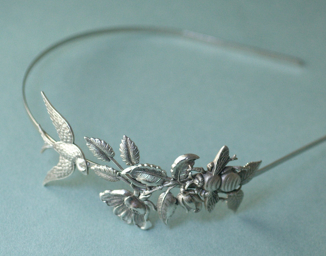 Whimsical bridal headband wreath silver antique style flower bee bird garden leaf head piece sparrow victorian wedding hair accessory