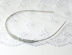 Victorian bridal headband ornate skinny silver finish antique style wedding hair accessory
