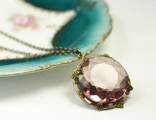 Load image into Gallery viewer, Amethyst pendant necklace bohemian glass jewel victorian brass purple February birthstone