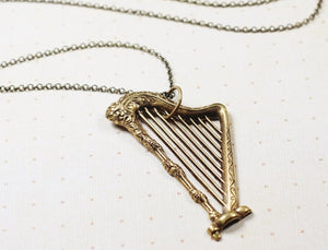 Harp necklace brass vintage style long retro renaissance music pendant