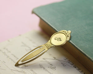 Monogram bookmark victorian brass personalized initial hand stamped bridesmaid wedding gift book mark