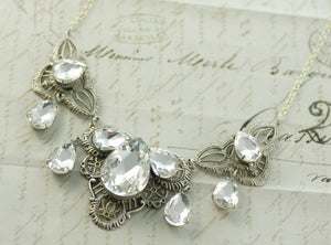 Crystal bridal necklace pear Edwardian antique style silver or brass filigree wedding jewelry victorian elegant art nouveau